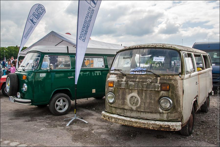 Старинные микроавтобусы Фольксваген, было-стало