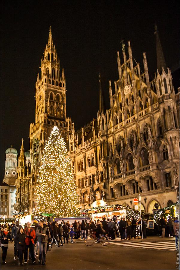 Елка на Мариенплац в Рождество